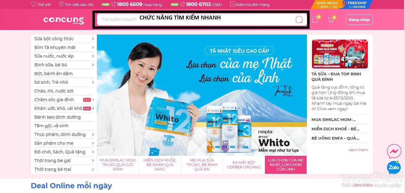 Thiết kế website mẹ và bé Quảng Ngãi
